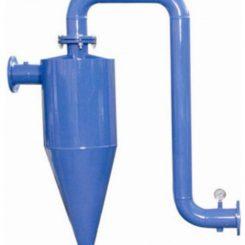 هیدروسیکلون از نوع فلزی برای حذف شن و ماسه از داخل آب چاه ها و رودخانه ها و جداسازی ذرات جامد از جریان آب برگشتی فرایند تولید در کارخانه ها و نیز جداسازی مواد جامد معلق در مایع