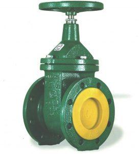 شیر فلکه کشویی زبانه فلزی از فلز چدن ساخته می شود و برای قطع و وصل کردن جریان سیال مورد استفاده قرار می گیرد. این نوع شیرها عموما دارای یک دیسک می باشد که به وسیله میله ماردون به فلکه وصل می شود و با چرخش فلکه به صورت کشویی باز و بسته می شود. این محصولات در دو طرف مجرای ورودی و خروجی سیال دارای دو فلنج می باشد و برای اتصال شیر به فلنج به وسیله پیچ و مهره تعبیه شده است.وجود فلنج ها در طراحی این شیرآلات اتصال آنها را بسیار ساده می کند.